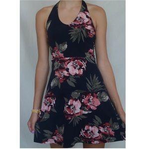 Floral Halter Neck Dress; Navy